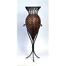 Wrought Iron and Rush Vase