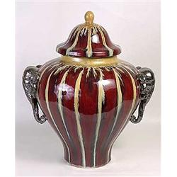 Large Porcelain Urn with Lid