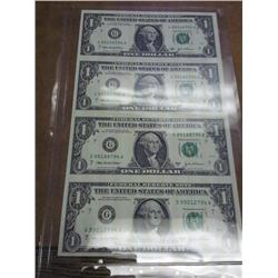 Uncut Sheet Of 4- 2003-A FRN's (One Dollar Bills)