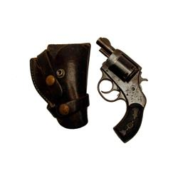 H&R Victor Cal .32 S&W SN:NVSN Early pocket 6 shot double action revolver. Blued finish, black check