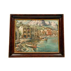 Original Oil on Canvas by L Shuia depicting Italian seaside, framed, image size is 14 1/2 W X 11 H.