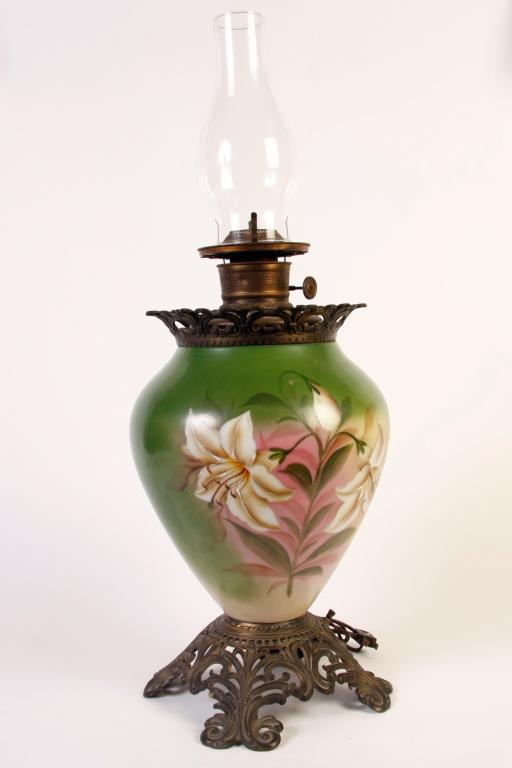 Antique Hand Painted Lamp Vase Converted From Kerosene To Electric