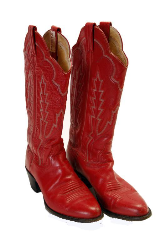 Pair of Ladies Red Staners Cowboy Boots in Narrow 8.