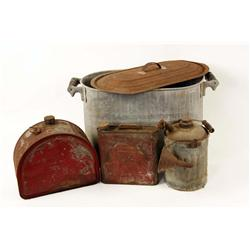 Lot of Four Miscellaneous Items including 3 antique oil cans and an old tin container with a rusted