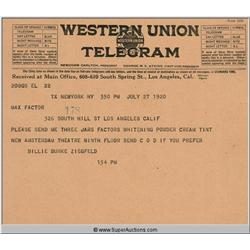 Western Union Telegram Billie Burke Ziegfeld {Max Factor Collection}