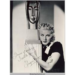 Ginger Rogers Autographed Negative and Photograph