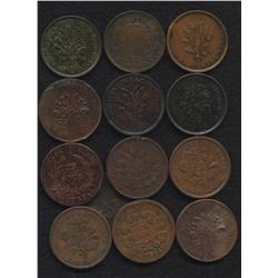 Lot of Thirteen Lower Canada Tokens