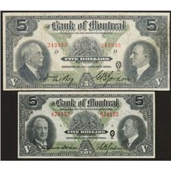 1931 & 1938 Bank of Montreal $5 Lot of Two Notes