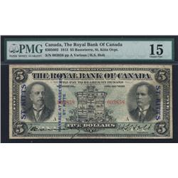 1913 Royal Bank of Canada $5 St. Kitts Overprint