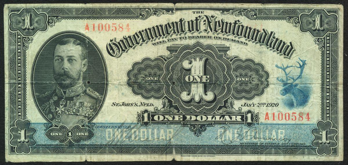 1920 Government Of Newfoundland One Dollar Cash Note
