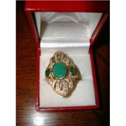 Ladies 10K Yellow Gold Emerald & Diamond Ring