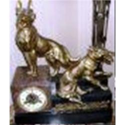 208: Antique Bronze Wolves Clock