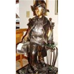 244: Bronze Sculpture Boy with Lunch Box by Bayre