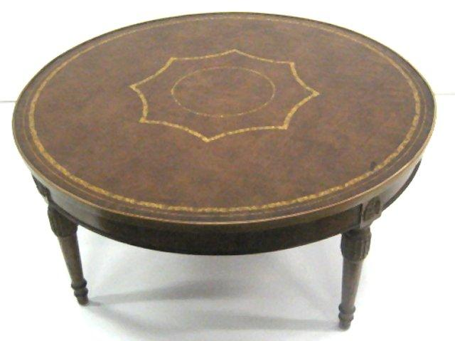 Round Leather Top Coffee Table Loading Zoom