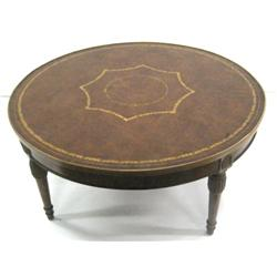 round leather top coffee table