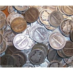 Lot of 100 Mercury Dimes