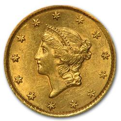 US Gold Coin 1$ 1850's date