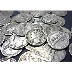 Roll of Mercury Dimes-Dates 30-40's