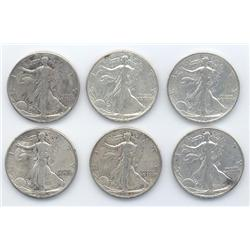 Lot of 6 Walking Liberty Half Dollars