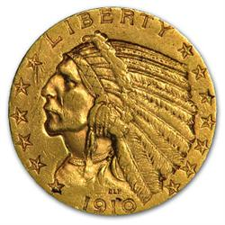 $ 2.5 Gold Indian 1910-17 date range