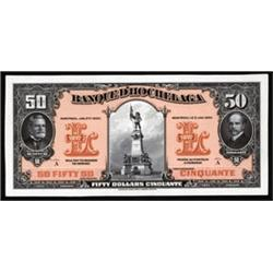 Banque D'Hochelaga, 1917-20 Issue Color Trial Banknote Proof.