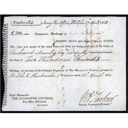 English Army Pay-Office 3rd of Exchange, War of 1812 Payment.
