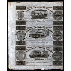 Canada. Champlain & St.Lawrence Rail Road Obsolete Banknote Sheet.