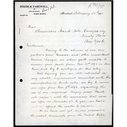 Beker & Farewell, Engineers, Banknote Paper Patent Offer to ABNC.