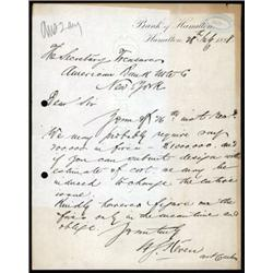 Bank of Hamilton Correspondence to ABNC for a Banknote Printing Proposal.