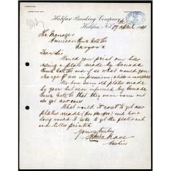 Halifax Banking Company Correspondence to ABNC for an 1894 Banknote Issue Proposal.