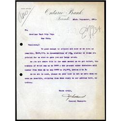 Ontario Bank Correspondence to ABNC for a Banknote Printing Order.