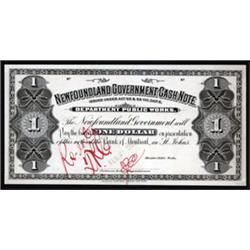 Newfoundland Government Cash Note, 1901 Cash Note Issue Approval Essay Proof.