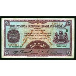 Barclays Bank (Dominion, Colonial and Overseas), 1937 Dominica Provisional Issue.