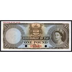 Government of Fiji Color Trial Banknote Specimen, 1953-67 Issue.