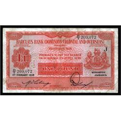 Barclays Bank (Dominion, Colonial and Overseas), 1937 Jamaica Issue.