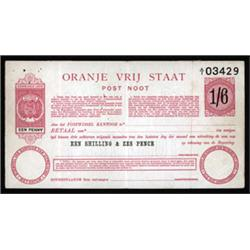 Orange Free State, Oranje Vrij Staat, Unlisted Post Noot, Post Office Post Note 1900 Issue.