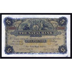 Natal Bank Limited, 18xx-1906 Issue Specimen Banknote.