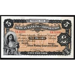 "African Banking Corporation, 1900-1920 ""Transvaal"" Issue Specimen Banknote."