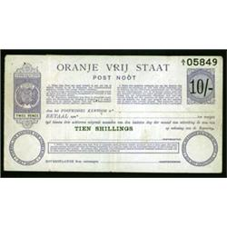 Orange Free State, Oranje Vrij Staat, Post Noot, Post Office Post Note 1900 Issue.