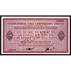 International Gold Corporation Limited Specimen Gold Certificate.