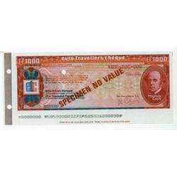 Euro Denominated Traveler's Check Specimens From.