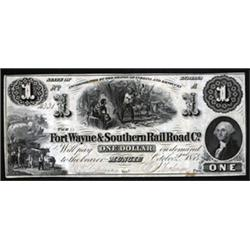 Indiana. Fort Wayne & Southern Rail Road Co. Obsolete Banknote.