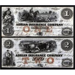 Michigan. Adrian Insurance Company Obsolete Banknote Pair.
