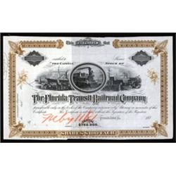 Florida Transit Railroad Co. Approval Proof Stock Certificate.