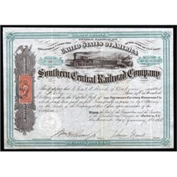 Southern Central Railroad Company Stock Certificate.