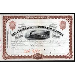 Cleveland, Delphos and St. Louis Railroad Co. Approval Proof Stock.