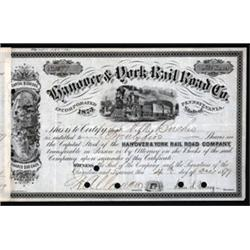 Hanover & York Rail Road Co. Stock Certificate.