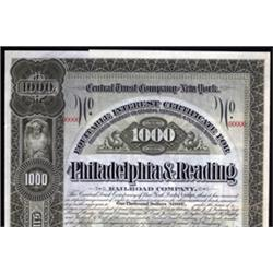 Philadelphia and Reading Railroad Co. Equitable Interest Certificate.