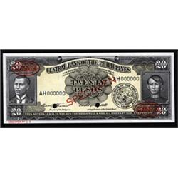 """Central Bank of the Philippines, 1949 ND """"English"""" Issue """"De La Rue"""" Specimen."""