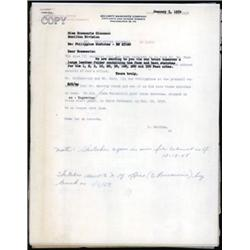 Security Bank Note Company Correspondence about the Central Bank of the Philippines Proposed 1953 Ba